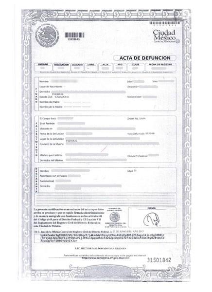 AD2013-Acta de defunción 2013